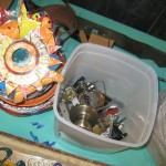 Our supplies - old wire, painted tin, and old machine parts