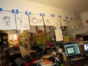 Before Jeff put in my hanging system, I used to taped things up.