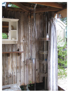 Mary's outdoor shower--sometimes a quick rinse outside is all she needs to reenergize.