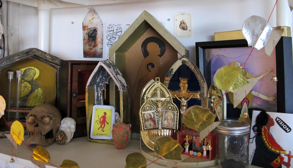 Kari's altar shelf also featuring work by Rebecca Schoenecker and Della Wells