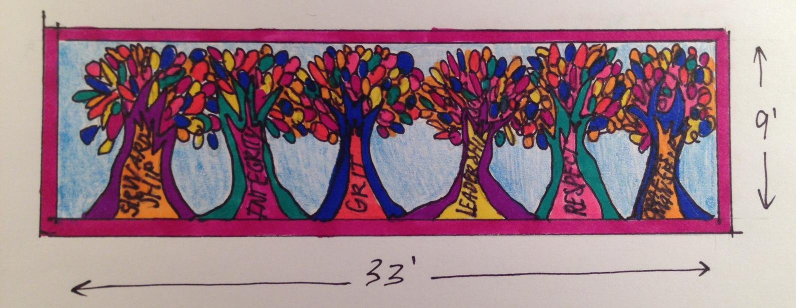 MES TREE MURAL sketch