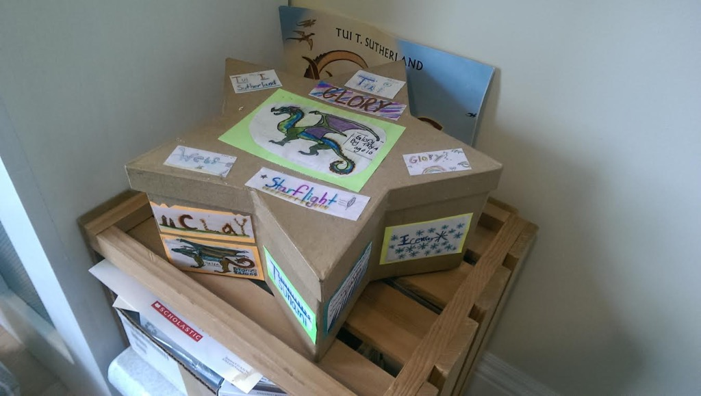 A box decorated by children at a school visit